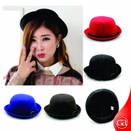 Trendy Solid Bowler Wool Cute Derby Hat